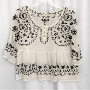 Free People Top Pennies Sequel Embroidered Blouse